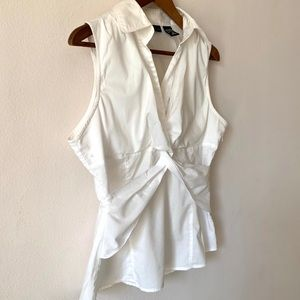 New York & Co White Sleeveless Knotted Tied Front